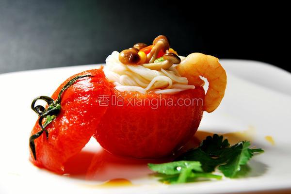 鲜虾米线番茄盅的做法