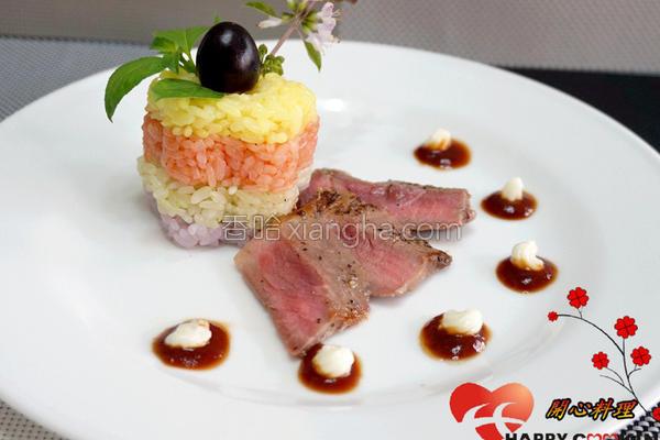 蜜香牛排佐彩米的做法