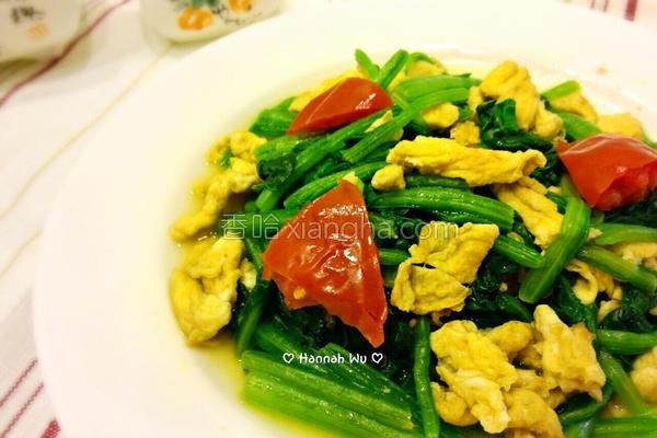 番茄菠菜炒蛋的做法