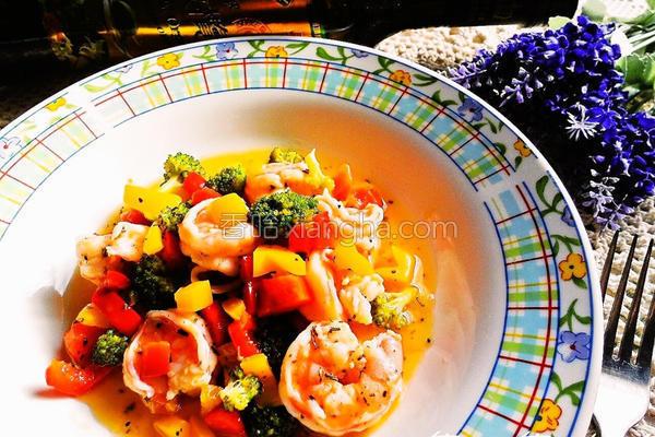 柠檬鲜虾红黄甜椒的做法