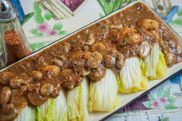 肉燥蘑菇佐娃娃菜的做法