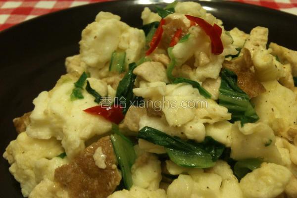 炒蛋扁豆腐青江菜的做法