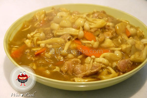咖哩肉片烩鲜菇的做法