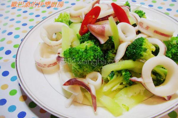 乌贼炒花椰菜的做法