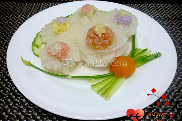 彩米蒸萝卜的做法