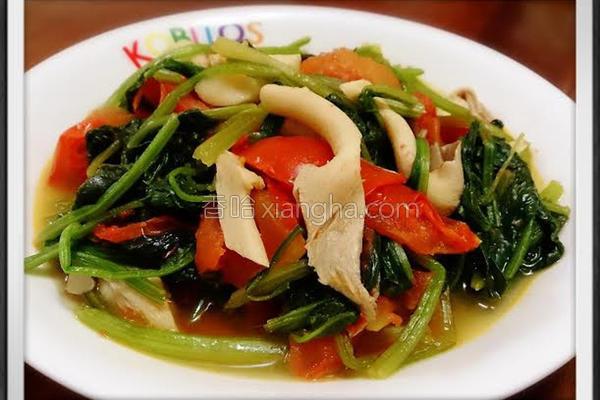 鲜菇炒番茄菠菜的做法