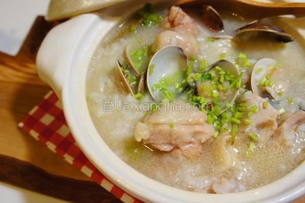 蛤蛎鸡腿砂锅粥的做法