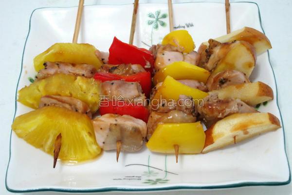 烤蔬果鸡腿肉的做法