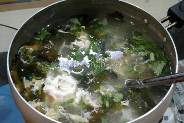 海带芽蛋花汤的做法