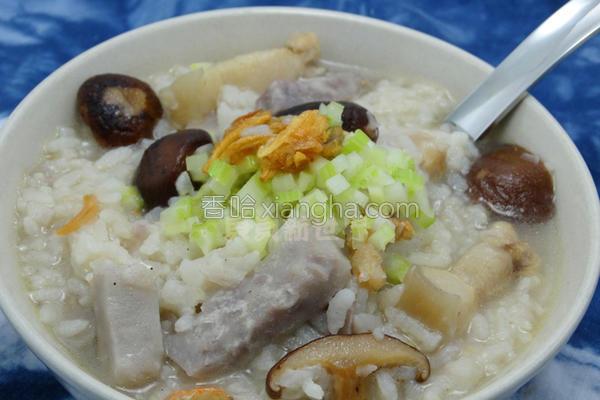 香菇芋头咸粥的做法