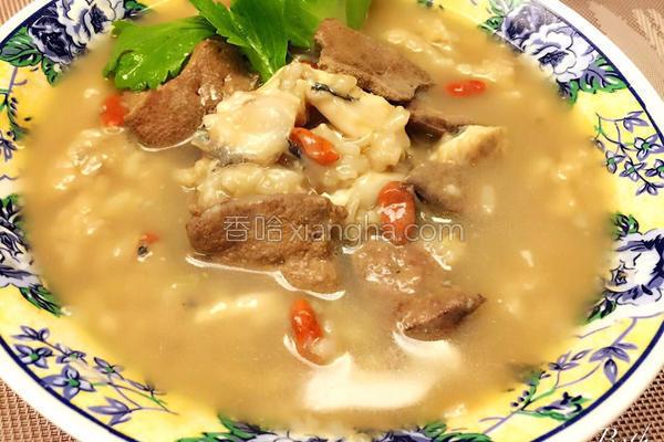 麻油虱目鱼猪肝粥的做法