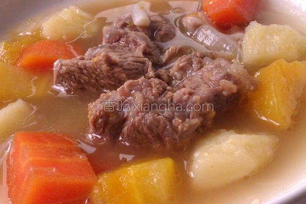 南瓜时蔬炖牛肉的做法