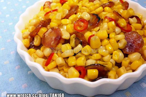 蒜辣香肠炒玉米的做法