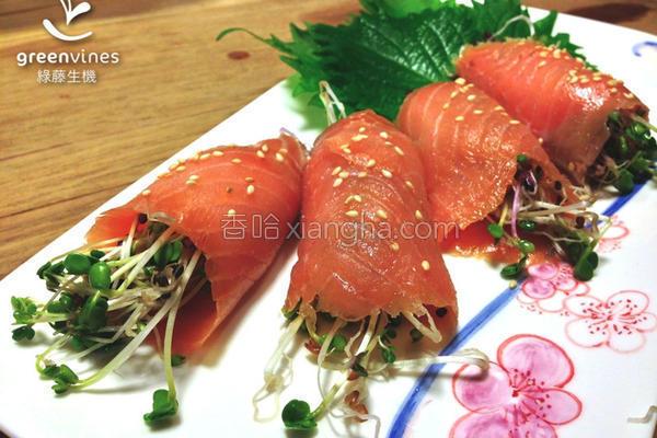 鲑鱼芽菜卷的做法