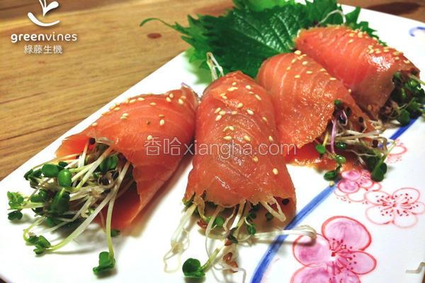 鲑鱼芽菜卷