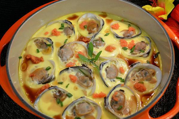 蛤蛎鱼籽蒸水蛋的做法