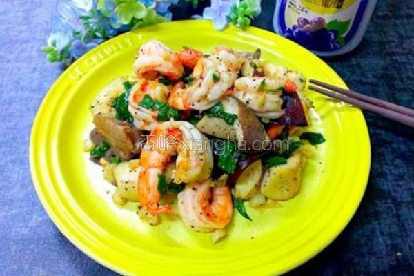 意式杏鲍菇炒虾的做法
