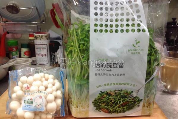 清炒菇菇豌豆苗的做法
