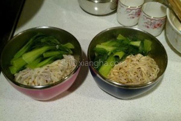 青江菜干拌米豆签的做法