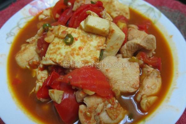 番茄鸡肉烩豆腐的做法