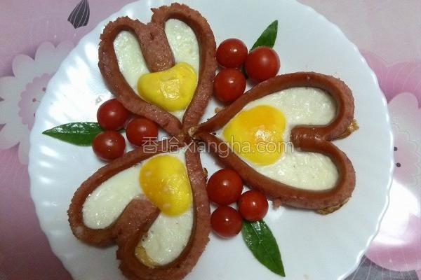香煎香肠爱心蛋的做法