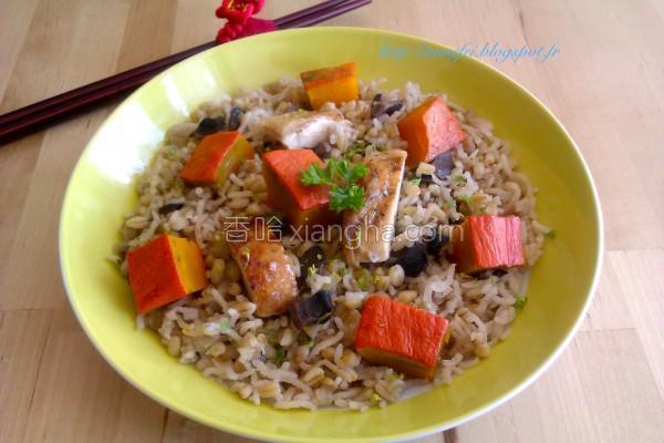 鸡肉南瓜薏仁炊饭的做法