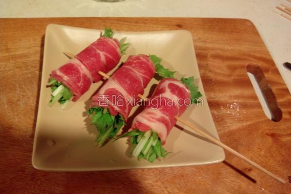 串烧水菜猪肉的做法