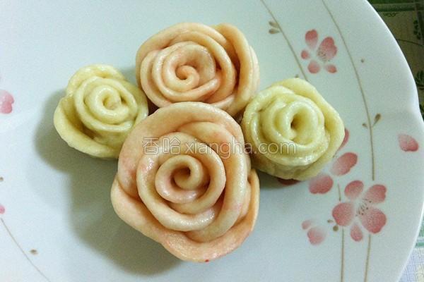 草莓玫瑰花馒头的做法
