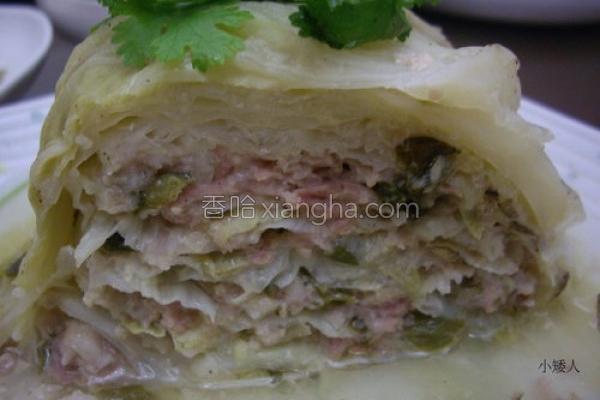 酸菜绞肉高丽菜塔的做法