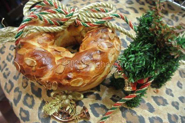 圣诞花圈面包