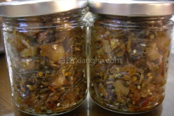 樱虾小鱼干贝酱的做法
