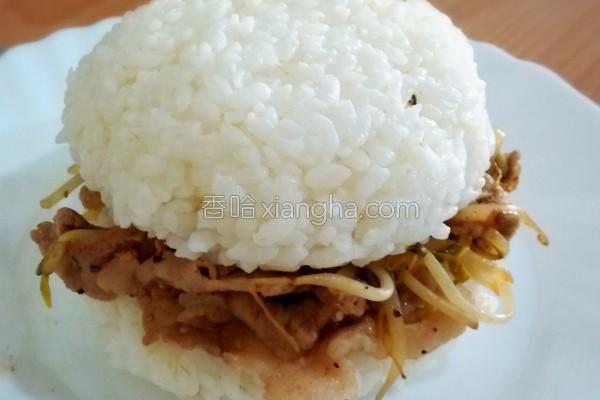 银芽猪肉米汉堡的做法