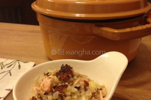奶油鲑鱼鲜蔬炊饭的做法