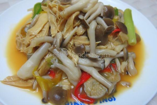 生豆皮清炒菇菇的做法