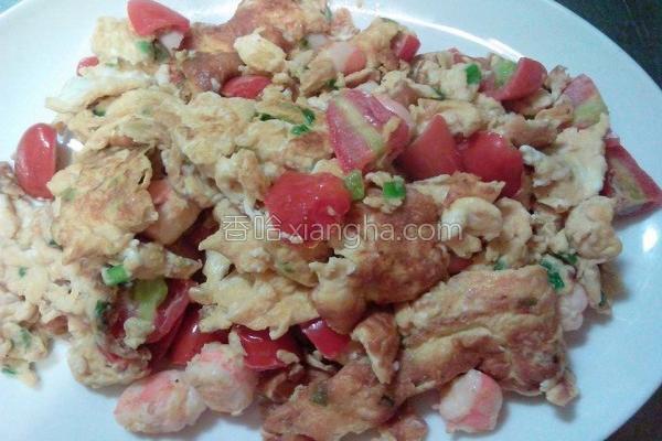 番茄鲜虾炒蛋的做法