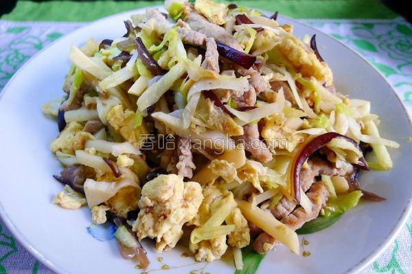 韭黄木须肉的做法