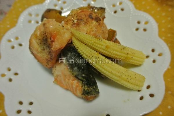 鲑鱼南瓜烤盘料理的做法