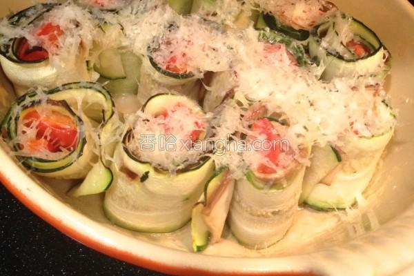 栉瓜茄子卷温沙拉的做法