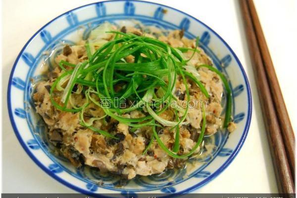 黑菇酱梅干菜蒸肉的做法