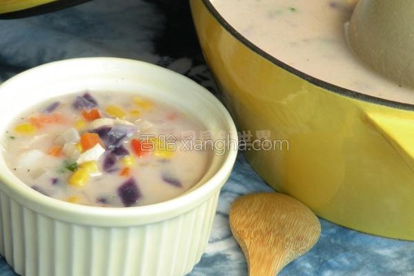 蔬菜鸡肉浓汤的做法