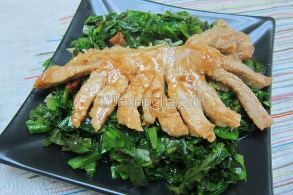 炒挂菜佩猪排的做法