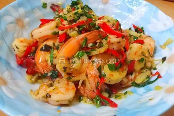 塔香蒜味虾的做法