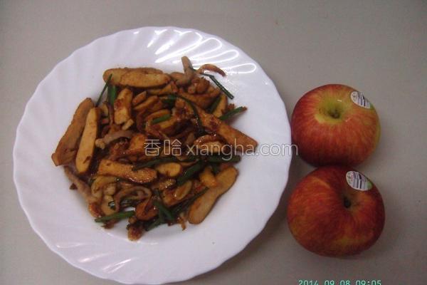 韭菜花炒豆干肉丝的做法