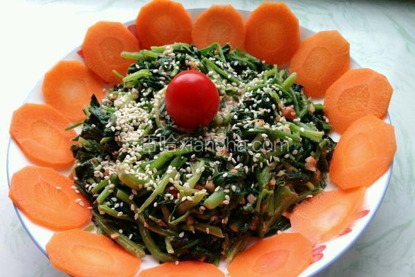 芝麻酱拌菠菜花生