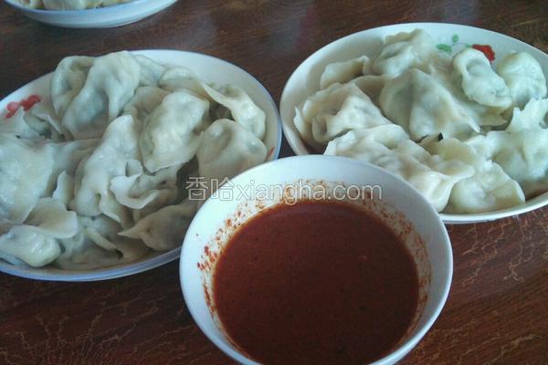 东北蘑菇大辣椒肉饺子