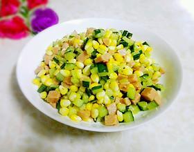 玉米火腿炒青瓜