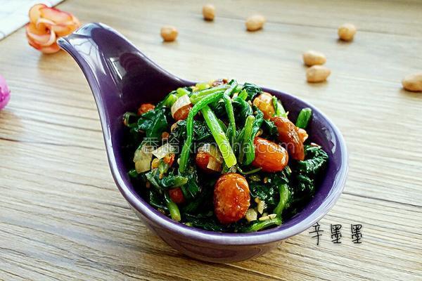 菠菜陈醋花生米