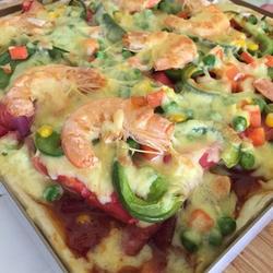 鲜虾蔬菜披萨(随意版)的做法[图]