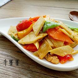 三椒杏鲍菇炒