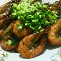 葱香椒盐对虾
